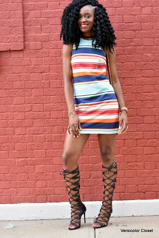 Striped dress & gladiator heels (1)