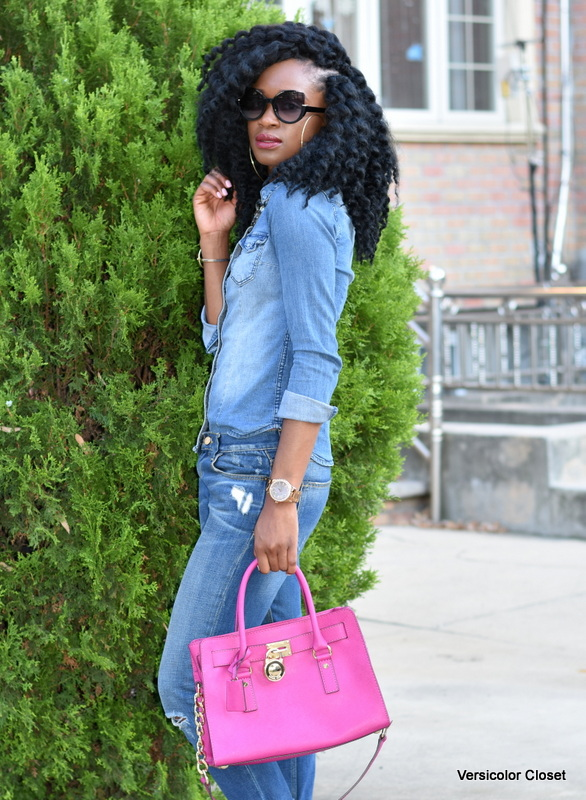Zara denim & H&M chambray top - canadian tuxedo (10)