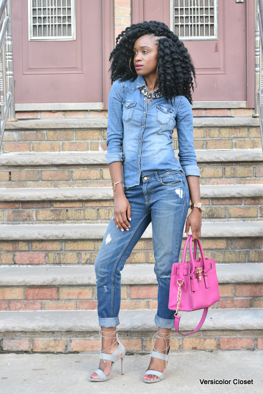 Zara denim & H&M chambray top - canadian tuxedo (8)