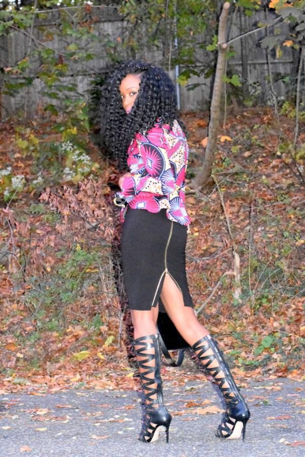 midi-skirt-ankara-jacket-gladiator-heels-8