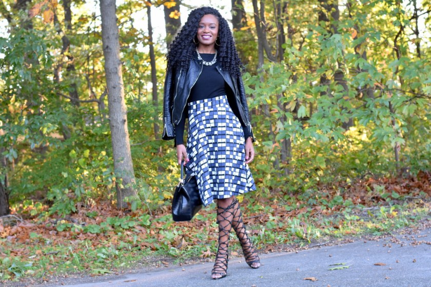 skater-skirt-faux-leather-jacket-gladiator-heels-2
