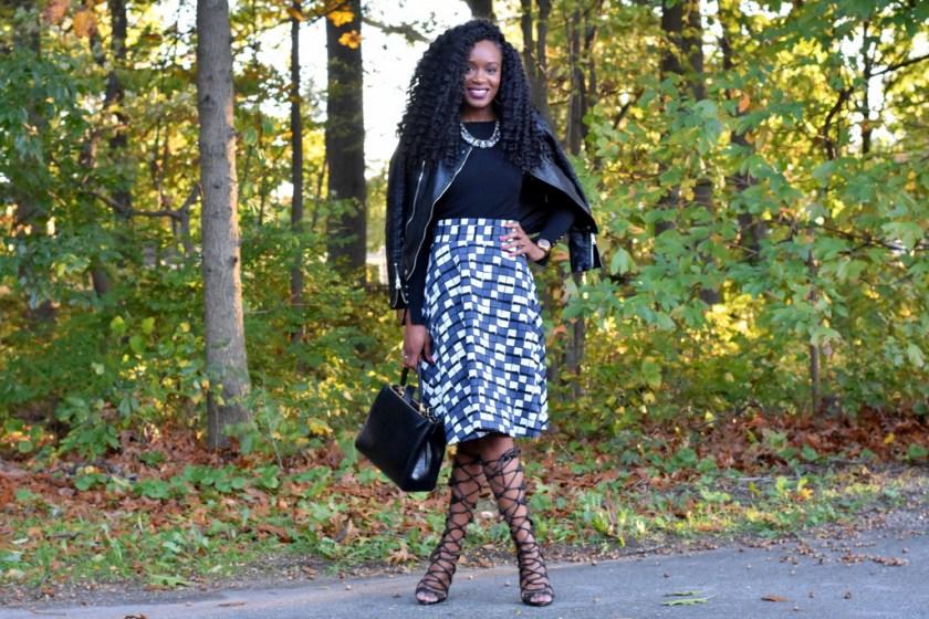 skater-skirt-faux-leather-jacket-gladiator-heels-3