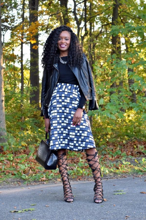 skater-skirt-faux-leather-jacket-gladiator-heels-7