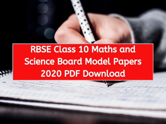 RBSE Class 10 Maths and Science Board Model Papers 2020 PDF Download