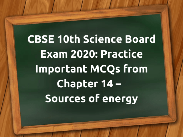 MCQ Questions for Class 10 Science Sources of energy with Answers