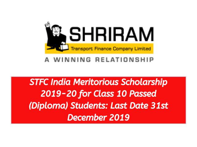 STFC India Meritorious Scholarship 2019-20 for Class 10 Passed Diploma Students