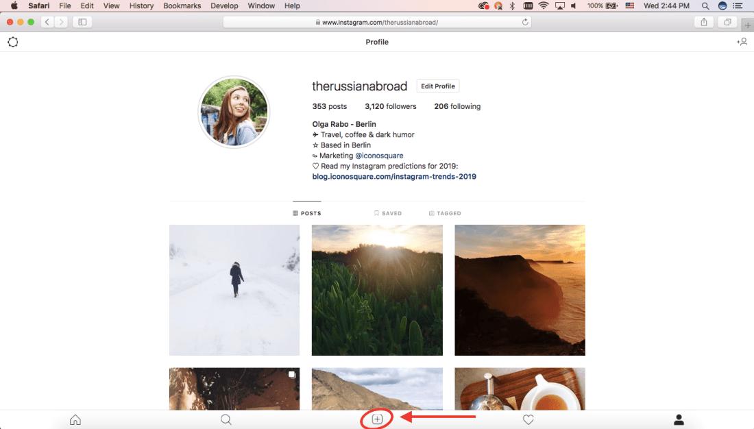 Click on Upload option on safari
