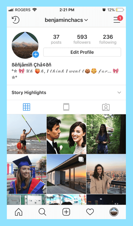 New Fonts on Instagram name and bio