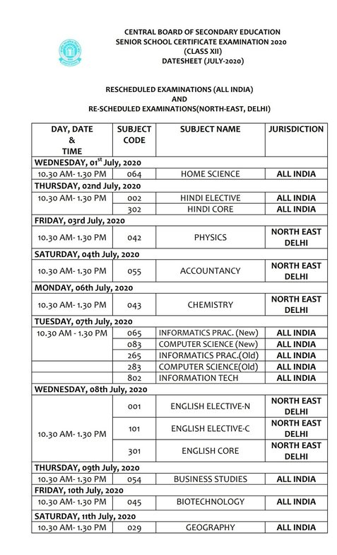 New CBSE Date Sheet 2020 for Class 12 (Pending Papers)