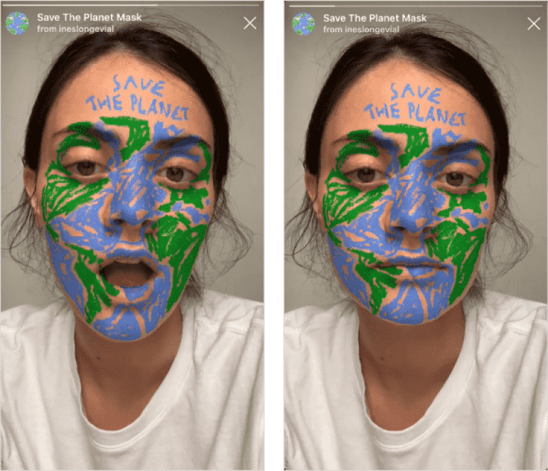 Save the Planet mask AR effect on Instagram to try during Lockdown