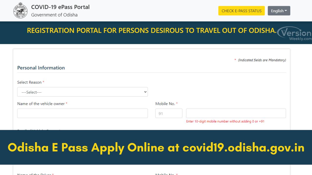 Odisha E Pass Apply Online