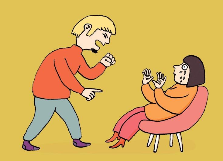 Mann bedrängt Frau- Symbol für häusliche Gewalt