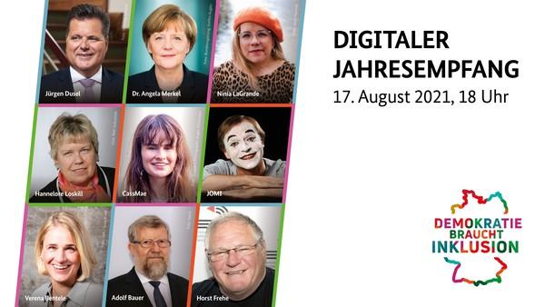 Bühnenbild des digitalen Jahresempfangs, Porträts von Frau Dr. Merkel, Herr Dusel und anderen Gästen