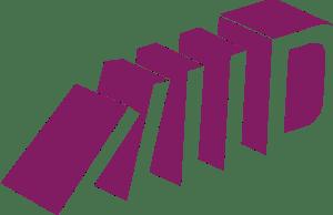 Logo der Initiative DWE: abstrahiert dargestellte Häuser, die beginnen, wie Dominosteine umzufallen.