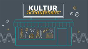 Logo des Kulturschaufensters: Laden mit großem Schaufenster. Darüber ein Schild, erste Zeile Kultur, zweite Zeile Schaufenster.
