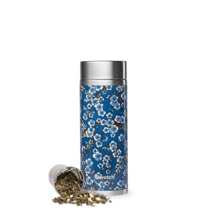 Théière isotherme Flowers bleu 400ml Qwetch