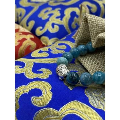 Bracelet en apatite bleue et argenté décor