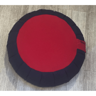 Zafu traditionnel en épeautre uni noir et rouge
