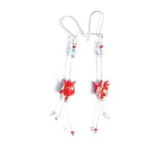 Boucles d'oreilles origami Boutons de lotus rouges Petits plis