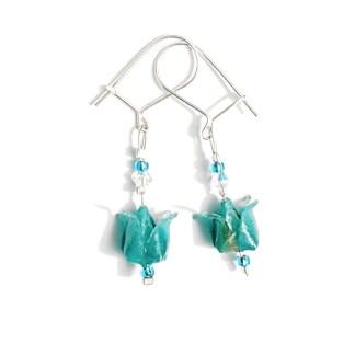 Boucles d'oreilles origami Boutons de lotus turquoise Petits plis