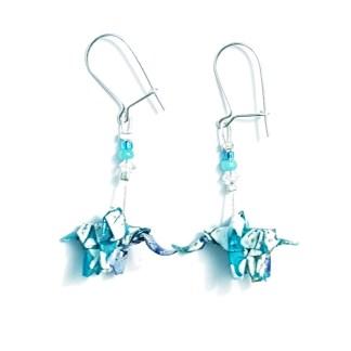 Boucles d'oreilles origami Éléphants turquoise et blanc Petits plis