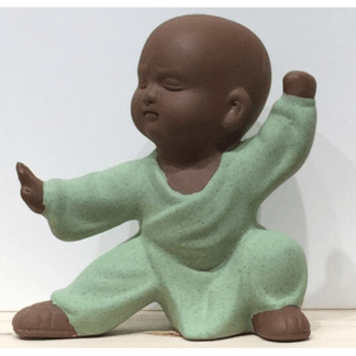 Statuette Moine Shaolin vert