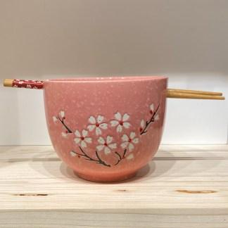 Bol et baguettes Fleurs de cerisier rose