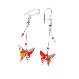 Boucles d'oreilles origami longues Papillons rouge Petits plis