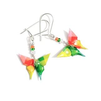 Boucles d'oreilles origami Papillons rouge Petits plis