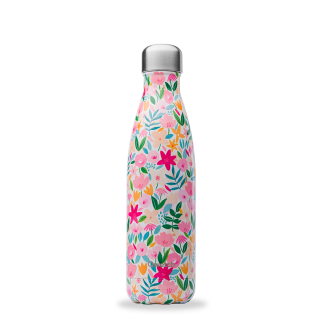 Bouteille isotherme Flora rose 500ml Qwetch