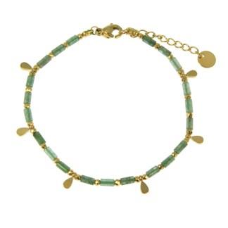 Bracelet Les Cleias acier inoxydable Aya agate mousse