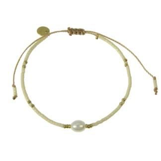 Bracelet Les Cleias acier inoxydable Delicat Perle blanc