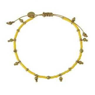 Bracelet Les Cleias acier inoxydable Farah jaune poussin