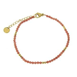 Bracelet Les Cleias acier inoxydable Horatio rhodochrosite