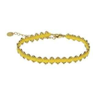 Bracelet Les Cleias acier inoxydable Inès jaune