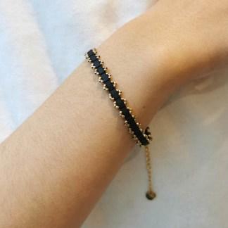 Bracelet Les Cleias acier inoxydable Inès noir