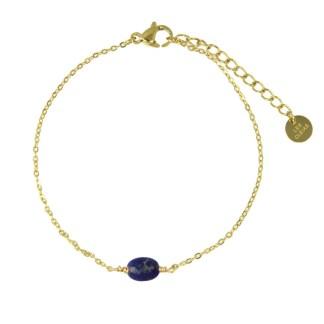 Bracelet Les Cleias acier inoxydable Serene lapis lazuli