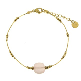 Bracelet Les Cleias acier inoxydable Victorine quartz rose