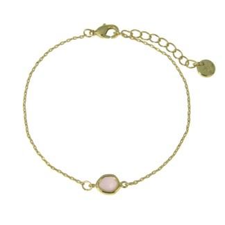 Bracelet Les Cleias plaqué or Teardrop quartz rose