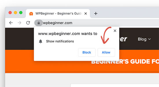 Allow push notifications from WPBeginner