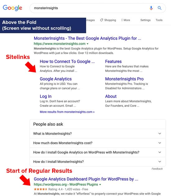 Google Sitelinks Above the Fold (Digital Real Estate)