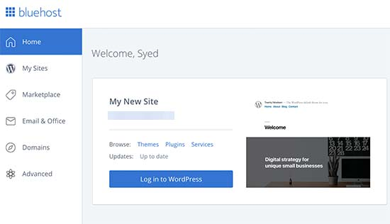 Log in to your WordPress blog from Bluehost dashboard
