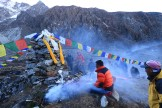 Lama and High Altitude climbr Tamting Sherpa - Puja before climbing