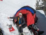 Rory Enjoying a brew at Camp 1