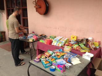 Sorting food on a Thamel rooftop