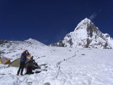 Checking out the ridge to the summit of Ama Dablma from Yak Camp