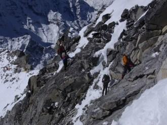 The team making its way along the ridge