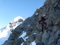 The final Abseil off the NW ridge