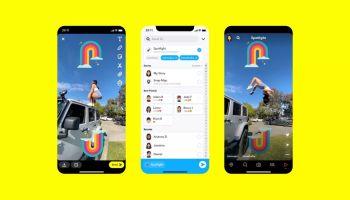 Три скриншота из раздела Spotlight Снэпчата на жёлтом фоне