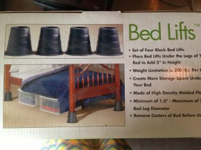 Just what we need! More room under the bed to store shit! DONATE.